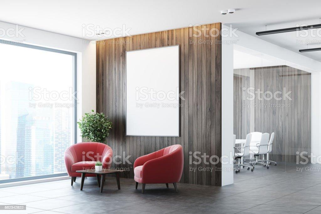 Weiß Und Holz Büro Wartezimmer, Sessel Seite Lizenzfreies Stock Foto