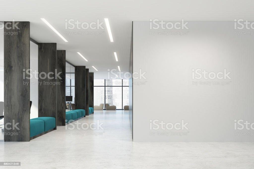 Blanc et en bois ouvrent canapés de bureau bleu de lespace