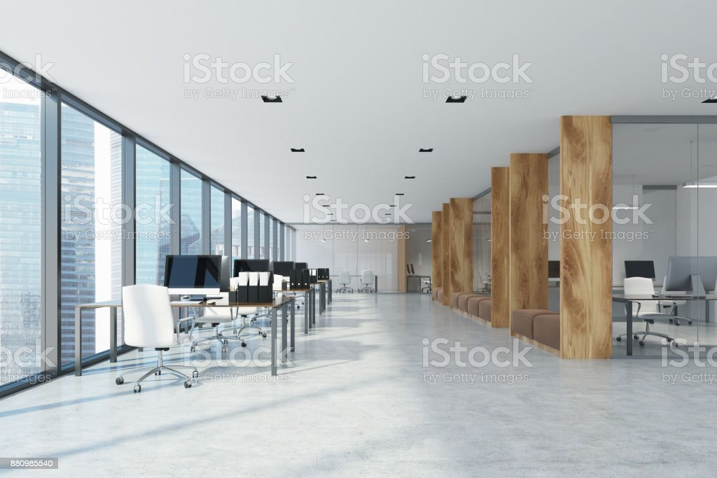 White and wooden open space office interior stock photo