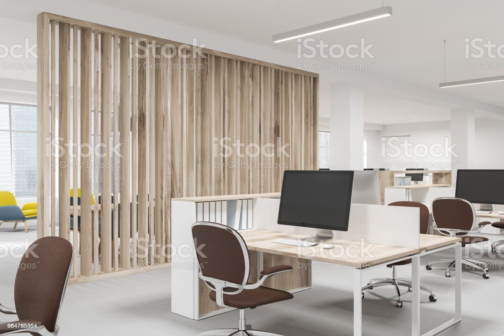White and wooden open space office side view royalty-free stock photo