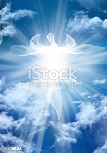istock White angel. Abstract modern illustration. Sky clouds with bright light rays 1140295088