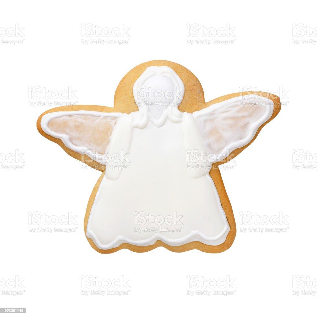 pain d'épice d'Ange blanc isolé sur fond blanc - Photo