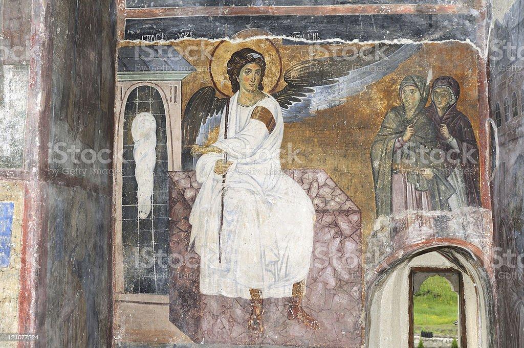 White Angel or Myrrhbearers on Christ's Grave stock photo