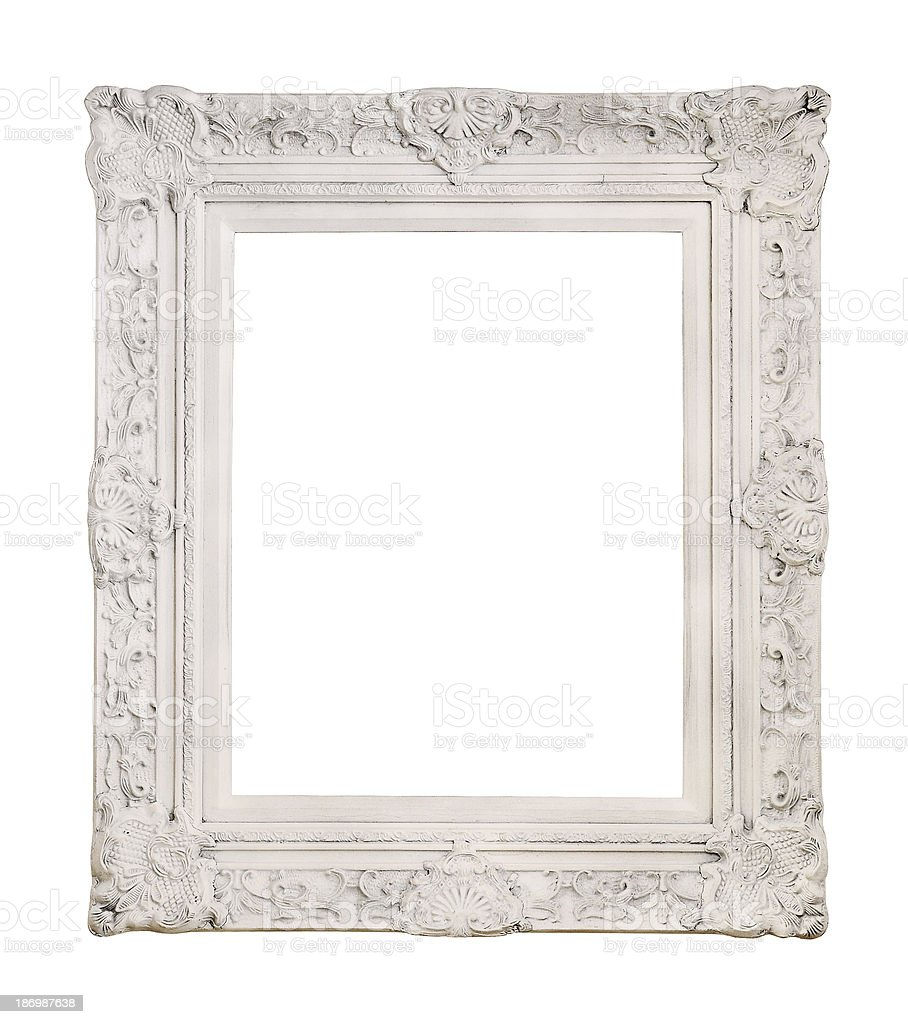 White antique picture frame stock photo