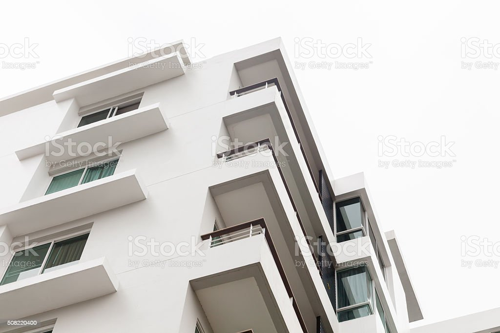 Parts of a new white apartment houses, white background, Bankok