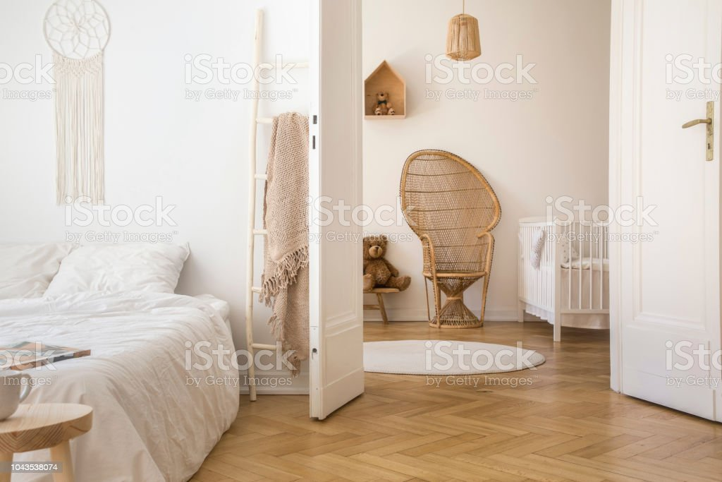 Fabulous White Apartment Interior With Herringbone Parquet Double Bed Pabps2019 Chair Design Images Pabps2019Com