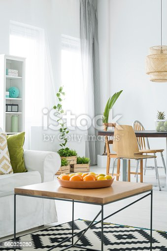 660325278istockphoto White apartment with wood table 660325280