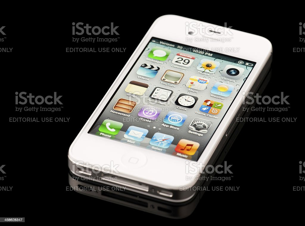 White Apple Iphone 4s Displaying Home Screen On Black Background Stock Photo Download Image Now Istock