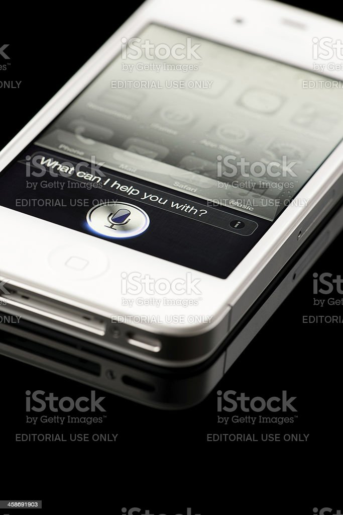 White Apple iPhone 4S with Siri detail stock photo