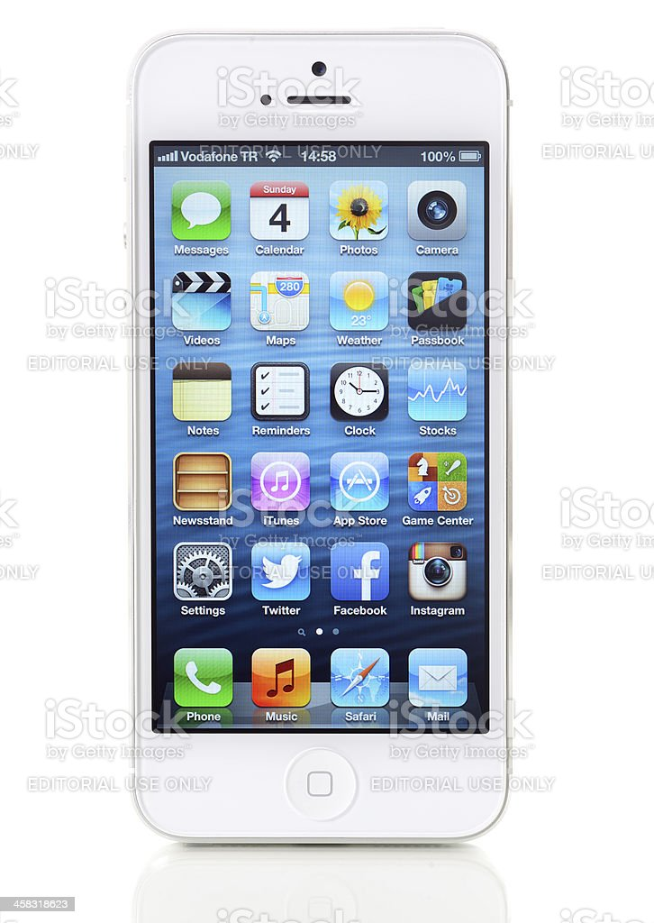 White Apple iPhone 5 royalty-free stock photo