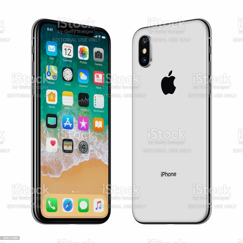 White Apple iPhone X front side and back side turned towards each other stock photo