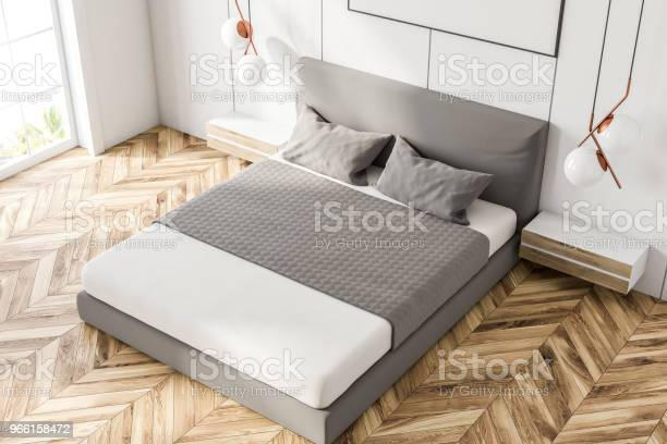 Weiße Gewölbte Fenster Schlafzimmer Ecke Draufsicht Stockfoto und mehr Bilder von Architektur