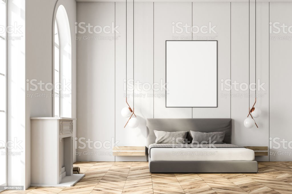 White Arched Window Bedroom Poster Front View Stock Photo Download Image Now Istock