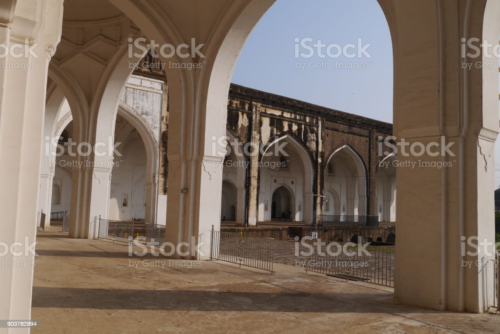 White arches of the mosque stock photo