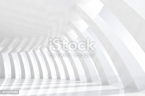 istock White arches tunnel in a empty architectural space with sunlight 470314480