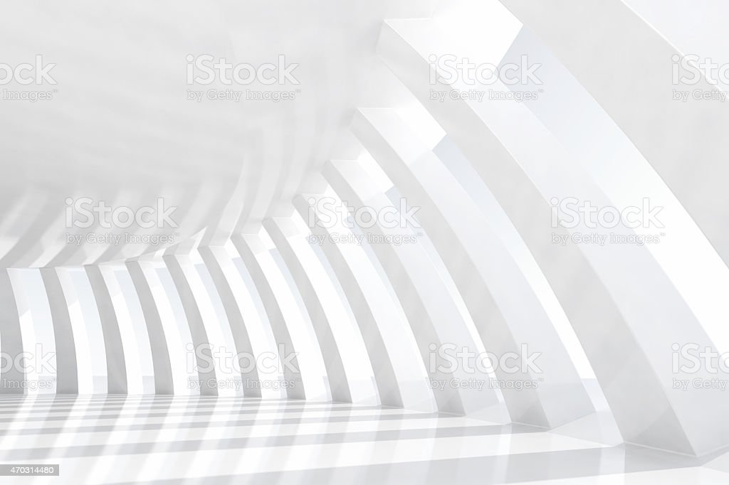 White arches tunnel in a empty architectural space with sunlight stock photo