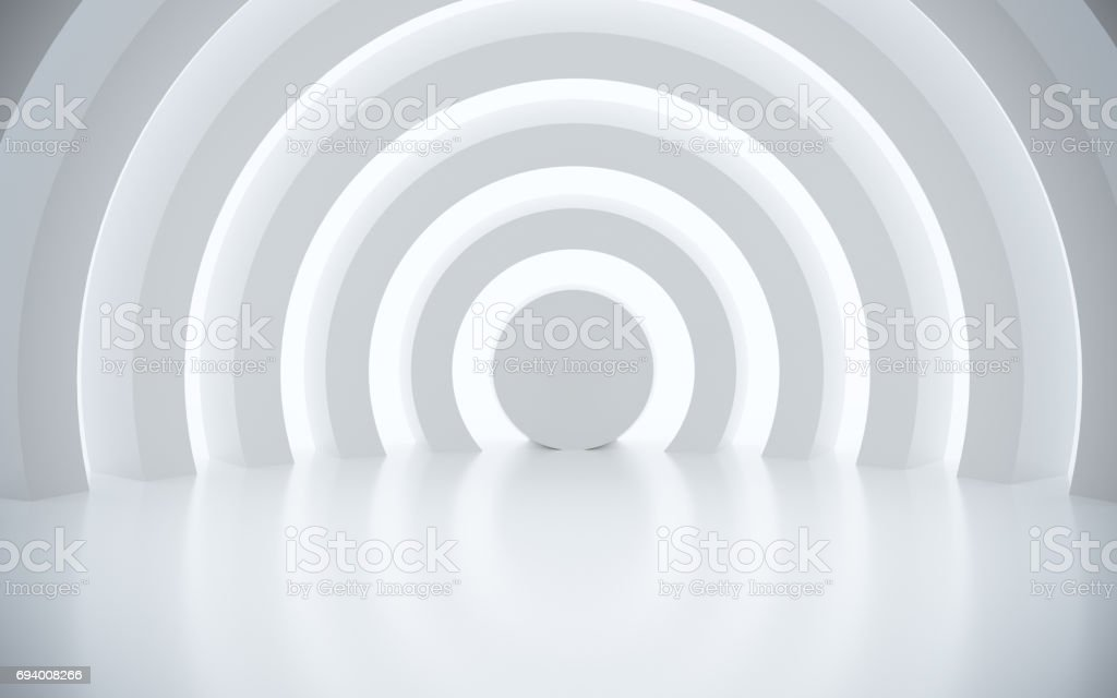 White architectural space with sunlight