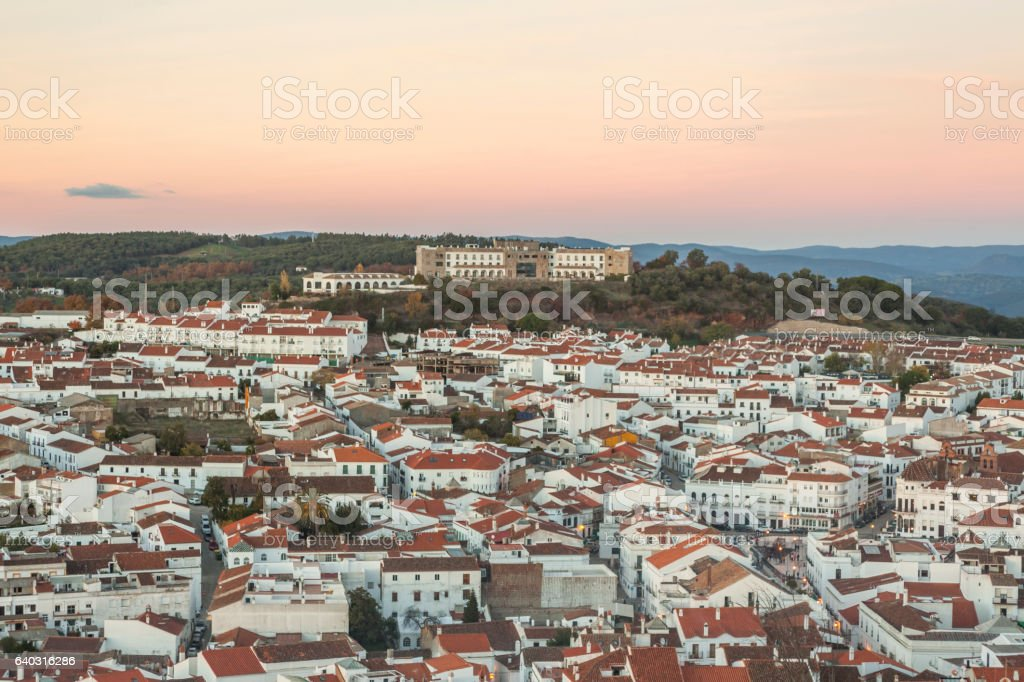 White architecture and red roofs in tourist Aracena's town. stock photo
