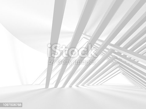 White Architecture Construction Modern Interior Background. 3d Render Illustration