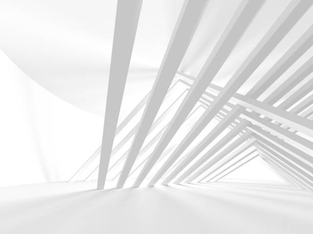 white architecture construction modern interior background - abstract architecture стоковые фото и изображения