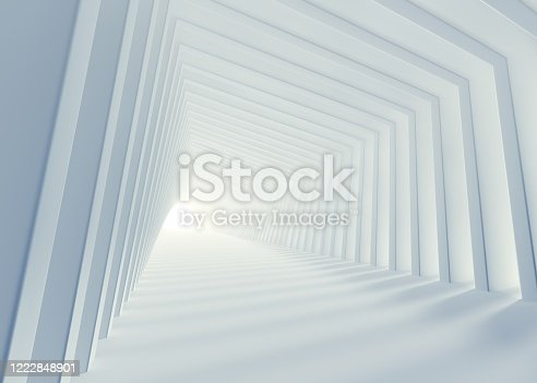 white background, architecture, corridor, tunnel, 3d rendering, arch