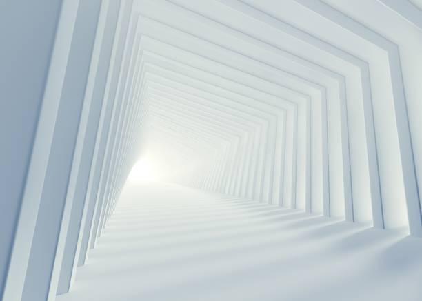 화이트 아키텍처 코리더 3d 렌더링 - 아치 건축적 특징 뉴스 사진 이미지
