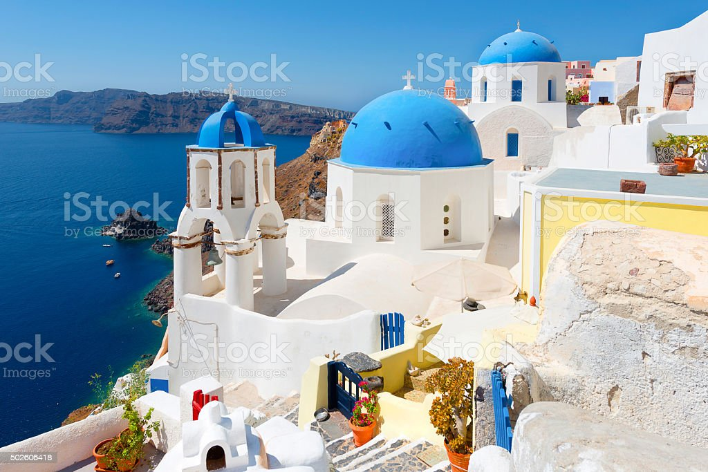 White architecture of Oia village on Santorini island, Greece stock photo