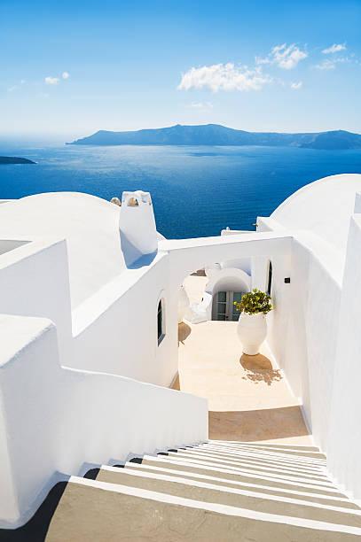 white architecture on santorini island, greece - santorini bildbanksfoton och bilder