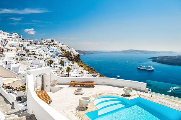 White architecture on Santorini island, Greece White architecture on Santorini island, Greece. Swimming pool in luxury hotel. Beautiful view on the sea mediterranean sea stock pictures, royalty-free photos & images