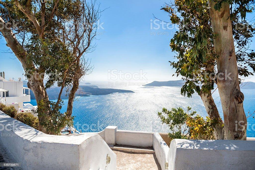 White architecture on Santorini island, Greece stock photo