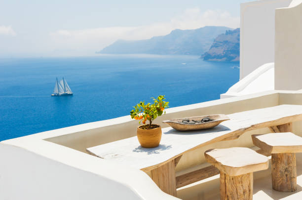 White architecture on Santorini island, Greece. White architecture on Santorini island, Greece. Beautiful summer landscape, sea view. luxury hotel room stock pictures, royalty-free photos & images
