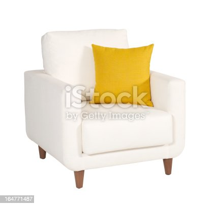 Armchair on white background-clipping path