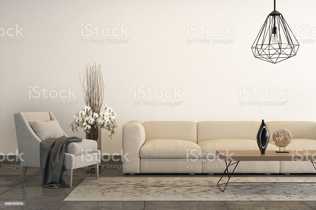 White armchair with white sofa and decoration stock photo