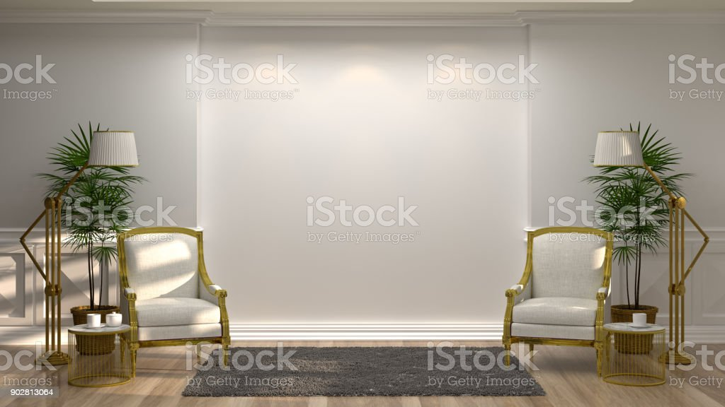 White armchairs and lamp in front of a white wall - Decorative things for living room ...