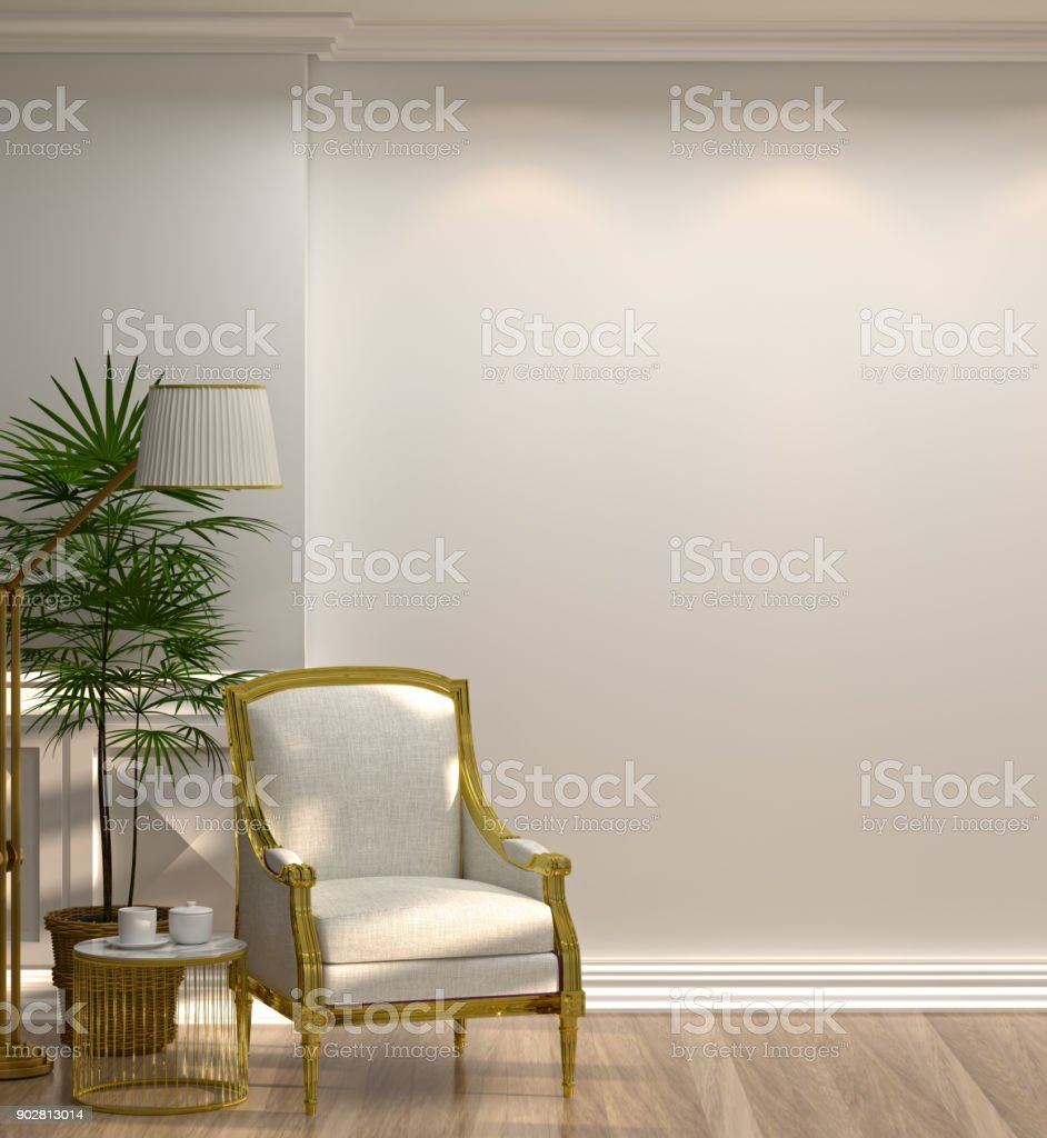 white armchairs and lamp in front of a white wall minimal style in empty room vintage style,3d rendering luxury living room modern mid century room interior home design vertical photo stock photo