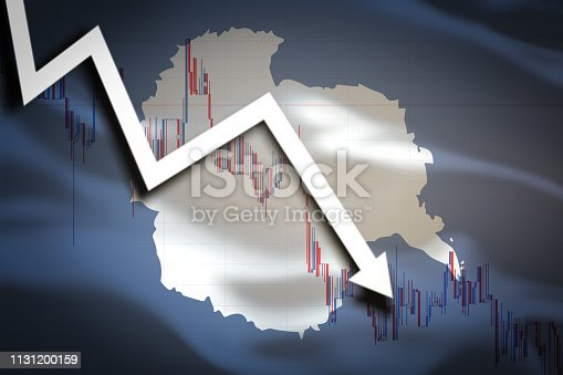 istock White arrow fall down on the background of the waving flag of Antarctica 1131200159