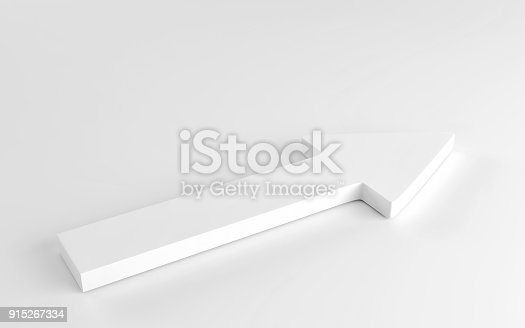 118386322 istock photo White arrow laying down on white background. 3d render 915267334