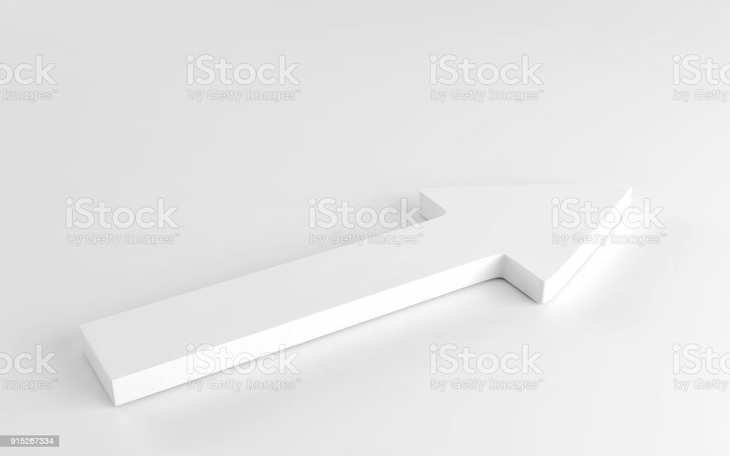 White arrow laying down on white background. 3d render stock photo