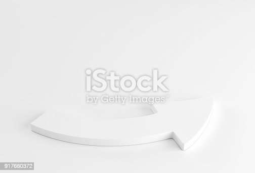 118386322 istock photo White arrow laying down on white background. 3d render 917660372