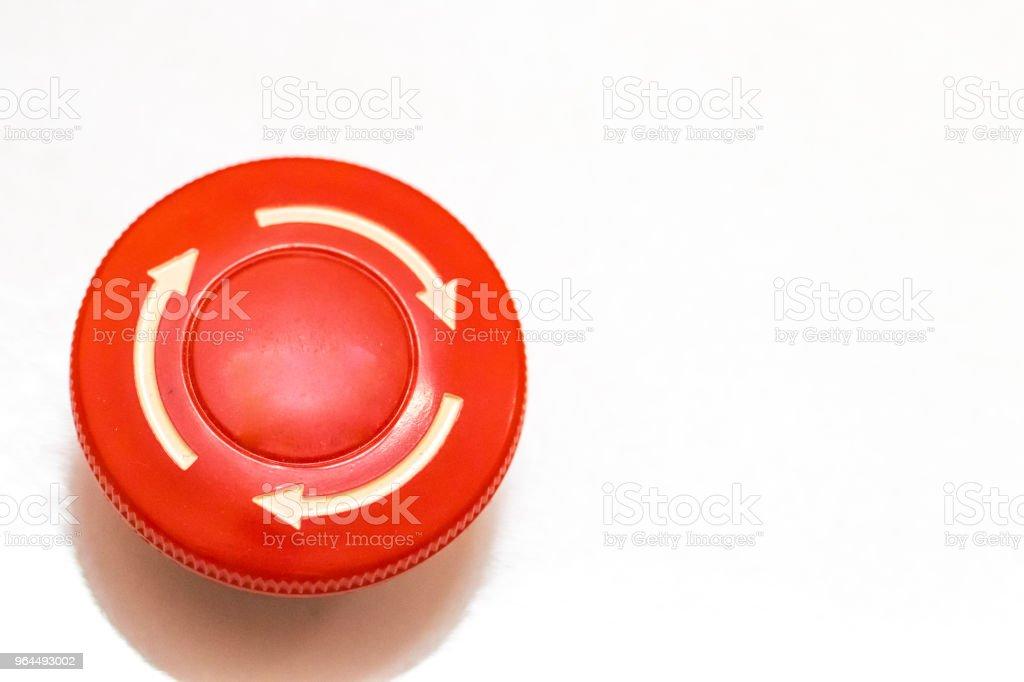 seta branca na botão de paragem de alarme - foto de acervo