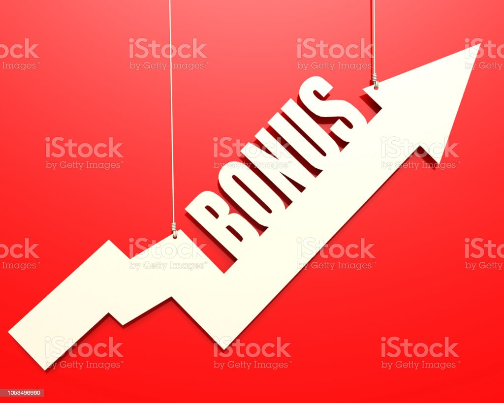 White arrow with bonus word hang on red background stock photo