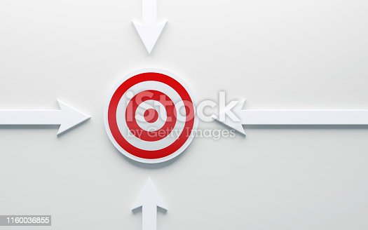 1014851396 istock photo White Arrows Pointing A Red Target 1160036855