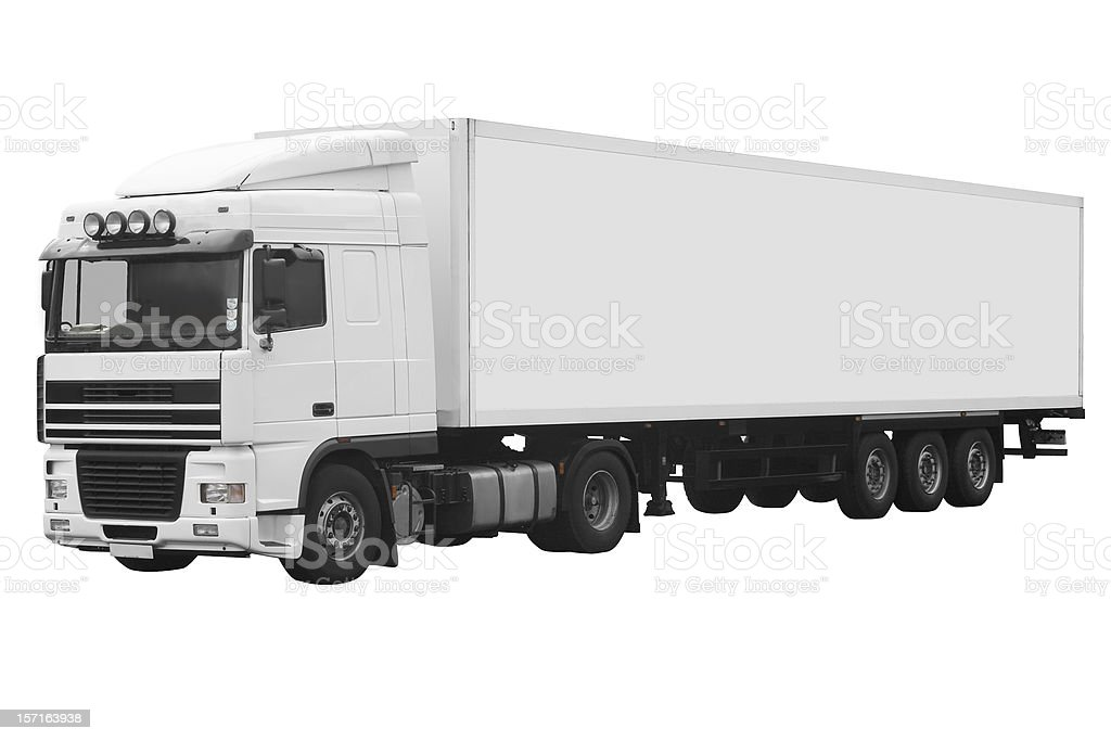White articulated truck on a white background with path royalty-free stock photo