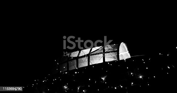 859844580istockphoto A white artificial showpiece boat at night 1153694790