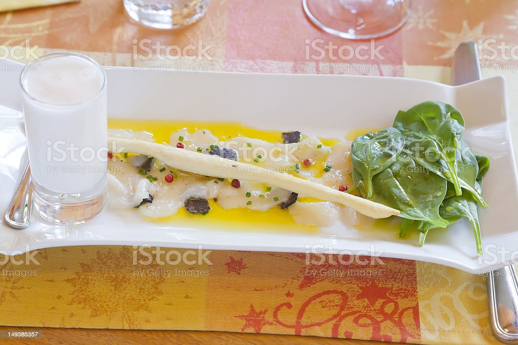 White Asparagus, Baby Spinach Leaves, Foie Gras. stock photo