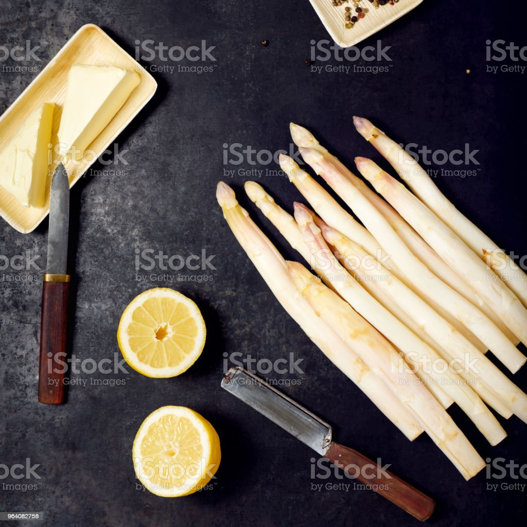 White asparagus cooking preparation with ingredients. - Royalty-free Asparagus Stock Photo