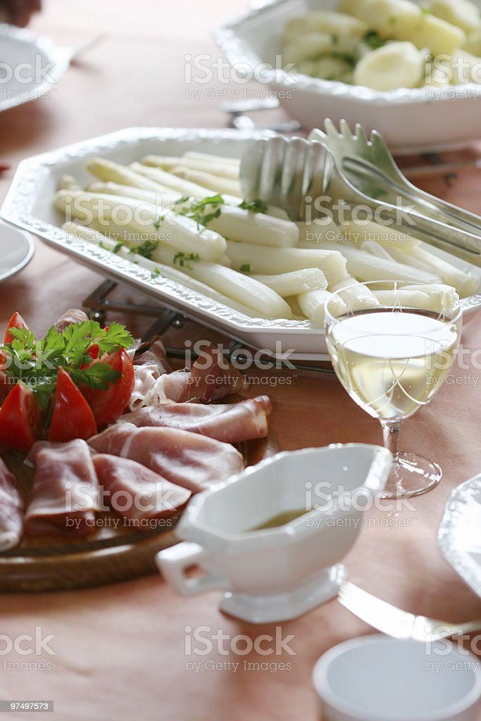 White asparagus meal royalty-free stock photo