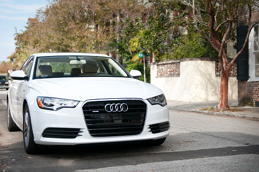 White Audi A6 In Charleston Usa Stock Photo - Download Image Now