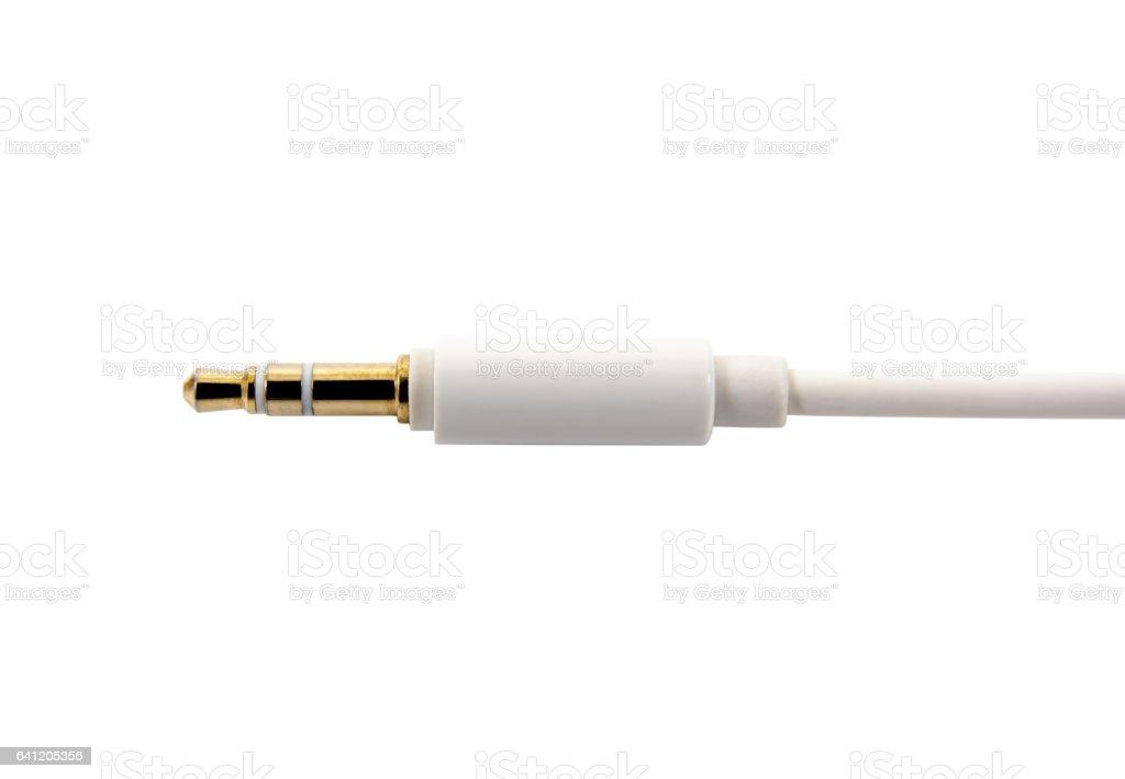 White audio cable isolated on white background. stock photo