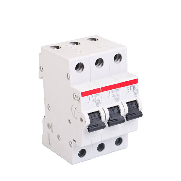 white automatic circuit breaker with 3 - fuse box stock photos and pictures
